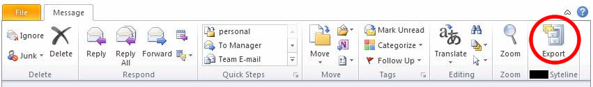 Picture of the Outlook 2010 Add-in Export Button